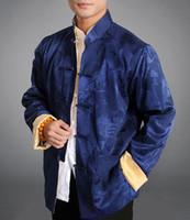 brocado chino azul al por mayor-Chaqueta reversible azul / oro chino de Tai Chi Kungfu Blazer 100% Seda Brocade # 105 Oriental Tailor Shop - Envío gratis