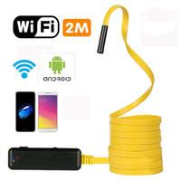 endoscopio wifi hd al por mayor-Envío gratis 2 metros de endoscopio flexible semi-rígido IP67 a prueba de agua WiFi Boroscopio 2MP HD Resoluciones Cámara de inspección Aplicación gratuita