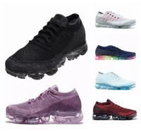 zapatos deportivos tejidos al por mayor-Nike vapormax air max Nuevo vapor Mexes zapatillas más nuevas que teje el corredor de calidad superior Athletic Sporting zapatillas de caminar Vapormax mujeres y hombres negro Casual 36-45