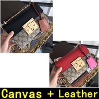 materiales para bolsos al por mayor-Bolsos de diseñador Canvas + Leather gold chain Bolsos de lujo de alta calidad Materiales de alta calidad Bolsos de cuero originales 8673