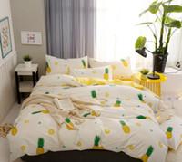freie verschiffen-duvets großhandel-Free Drop Ship Kinder Cartoon Baumwolle Bettwäsche Set Ananas Design Bettbezug Set Bettwäsche + Quilt + Kissenbezug Jacquard Vier-Stück Bettwäsche-Set B1