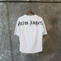 ingrosso oversize t-shirt bianche-Maglietta Palm Angels White Black Letters Stampa Summer Tees Uomo Donna T-shirt oversize Hip Hop Street Tops