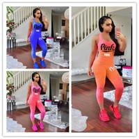 Wholesale Woven Pants - Women Outfit Summer PINK Slim Tracksuit VS gradient ramp color Sport Suit Clothes Comfortable 2pcs a set scoop neck tops and mid-calf pants