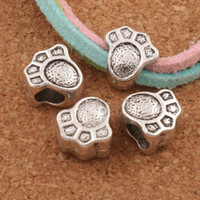 Wholesale Charms Dogs - Baby Bear Dog Paw Print Big Hole Beads 120pcs lot 10.6x10.3mm Antique Silver Spacers Fit European Charm Bracelets Jewelry DIY L1469