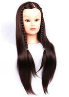 cabeza de muñeca de entrenamiento al por mayor-Cabeza de maniquí con formación de cabello Muñeca de peluquería Maniquíes Cabezas humanas Formación peluca femenina Cabeza de maniquí con pelo sintético