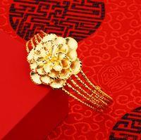 vergoldetes messingarmband großhandel-2018 neue BRASS PLATE 24k Echtes GOLD Armband Blütenblätter weibliche vergoldete Öffnung Nachahmung Gold vietnamesische Gold Armband offener Stil