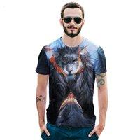 ingrosso grande stampa 3d-2018 estate nuovo grande codice Europa e America leone arrabbiato T-shirt stampa 3D Street marea abbigliamento da uomo codice europeo