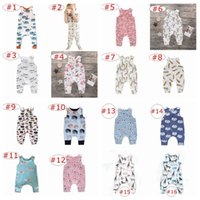 Wholesale zebra print bows - ins new summer infant unicorn mearmaid zoo full print rompers Jumpsuits kids big fish print bow rompers baby 100% cotton jumpsuits 0-3years