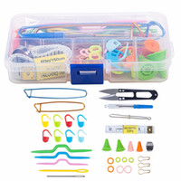 Wholesale Quilt Pictures - 56pcs New Crochet Hook Needle Knit Yarn Weave Clip Stitches Scissors Pins Knitting Tool Kit with Case