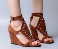 ingrosso sandali in cotone marrone-Estate New Woman marrone kaki tinta unita open toe rivetti fibbia cinturino copertura tacchi zeppe sexy sandali scarpe tacco alto donna