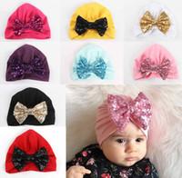 Wholesale turban headband wrap cap - Baby Girl Bandanas Turban Head Wrap Girl Hat Indian Cap Shinning Bowknot Headband Many Styles
