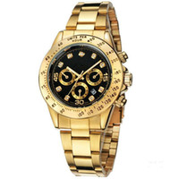 Wholesale fashion batteries online - relogio masculino mens watches Luxury dress designer fashion Black Dial Calendar gold Bracelet Folding Clasp Master Male gifts couples