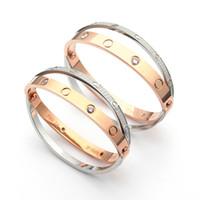 paare armbänder ringe großhandel-316L titan stahl marke Voll kristall Liebe Armbänder Doppel ring kreuz armband Armreifen Frauen Männer Paar liebe Schmuck