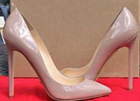 ladies high heel shoes toptan satış-2017 stil yüksek kalite kadınlar yüksek topuklu ayakkabı perçinler mor patent topuklu bayan düğün ayakkabı Kırmızı ayakkabı yüksek topuklu ayakkab ...