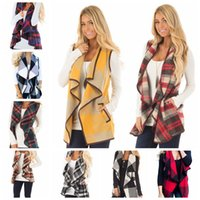 ärmelloses hemd strickjacke groihandel-Plaid Weste Frauen Revers Cardigan Sleeveless Westen Shirt Revers Plaid Printed Wintermantel Casual Pocket Jacken Hause Kleidung GGA976