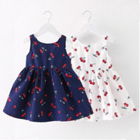Wholesale Cute Baby Girl Chinese - Graceful kids girls cherry print princess dress sleeveless cotton party casual skirts sundress cute baby girls dress