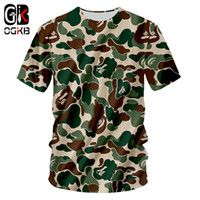 tees del ejército al por mayor-OGKB Army Camouflage Tops Tees 2018 Moda Para Hombre Casual O-Neck 3D Impreso Camiseta Harajuku Hombres / Mujeres Camisetas Plus Size Hip Hop