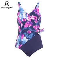 Wholesale sexy plus size swimwear wholesale online - Raintropical Women One Piece Swimsuit New Sexy Swimwear Female Vintage Swimsuit Plus Size Bathing Suits Summer Beach Wear