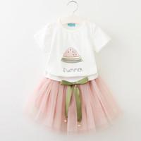 pamuklu örgü kumaş toptan satış-Kızlar elbise TUTU konfor ile yaz fashioncute pamuklu kumaş snese çocuk giysileri T-çocuklar için net tül etek takım elbise ile gömlek