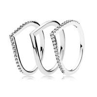 bone jewelry toptan satış-Otantik 925 Gümüş Yüzük İstek Kemik Yüzük Seti Kristal Yığın Yüzük Ile Kadınlar Için Düğün Parti Hediye Için Güzel Avrupa takı