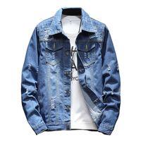 dünne jeans großhandel-Marke 2018 M-5XL Männer Jean Jacke Kleidung Jeansjacke Mode Herren Jeans Dünne Frühling Outwear Männlich Cowboy