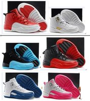Wholesale white leather toddler shoes - Boys Girls Retro 12 Kids Basketball Shoes Childrens 12s Gym Red 12s Barons Wolf Grey French Blue Sports Shoes Toddlers Birthday Gift