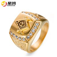 Wholesale Wholesale Masonic Rings - Trendy GOLD Color Mens Masonic Rings Stainless Steel Free Mason Ring Freemasonry College Style Jewelry Wholesale