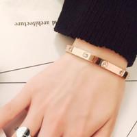 Wholesale bangle for sale - Luxury designer wedding jewelry love bracelet for women K gold plated simple classic gold bracelet gift
