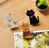 ingrosso fermagli in legno-La nuova clip di legno del gatto di TY14-62 Miranda di Kawaii stabilito / clip di carta di legno sveglie libera il trasporto 100pcs