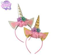 bebek çiçek kafa bandı toptan satış-Sevimli prenses doğum günü partisi Çocuk unicorn Saç Sopalarla çocuklar çiçek kafa Yürüyor Saç şerit bebek Saç Aksesuarları cosplay A990