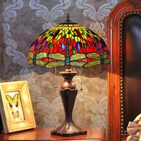 Wholesale dragonfly painting - FUMAT Glass Art Table Lamp Antique Decor Red Dragonfly Living Room Stained Glass Lamp Studio Bedside Stand Light Fixtures