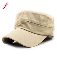 ordu moda erkek kap toptan satış-2018 Yeni Gelmesi Erkekler ve Kadınlar Moda Rahat şapka Klasik Düz Vintage Ordu Harbiyeli Stil Pamuk Kap Şapka Katı Ayarlanabilir