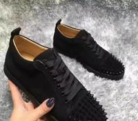 ouro lantejoulas apartamentos venda por atacado-2020 sapato novo luxo preto glitter ouro lantejoulas sapatos de fundo vermelho designer de alta top spikes toe couro genuíno flats de casamento do partido sneakers