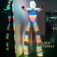 robot de ropa ligera al por mayor-Ropa LED Trajes de luz LED Robot Traje Casco Brillante Stilts Clothes Men Clothes With Ballroom Dance Mecánica