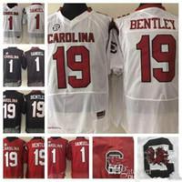 jerseys negros baratos del balompié al por mayor-2018 South Carolina Gamecocks # 19 Jake Bentley # 1 Deebo Samuel Negro Rojo Blanco Gris Cosido College Football Mens Barato Jerseys S-3XL
