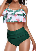Wholesale high waisted swimwear free shipping for sale - Fashion Swimwear for woman Retro Flounce Mid Waisted Bikini Halter Neck Two Piece high waist swimwear free ship
