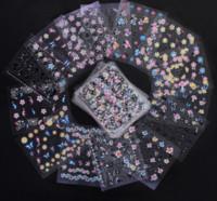 Wholesale nail designs accessories - 50 pcs Set 3D Mix Color Floral Design Nail Art Stickers Decals Manicure Beautiful Fashion Accessories Decoration
