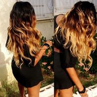 üç renk tonu ombre saç toptan satış-Siyah Kadınlar için süper Dalgalı Tam Dantel İnsan Saç Peruk Brezilyalı saç Üç Ton # 1b / 4/27 ombre renk Dantel Ön Peruk