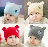 32f255b6e1f Baby New 2018 Knitted Cap Children s Hat Bear Ears Woolen Cap Autumn Winter  Baby Cap Multicolored Baby Hat