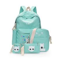 sırt çantası kanvas toptan satış-Kadınlar için sevimli Kedi sırt çantaları Okul Çantaları Genç Kız Yeşil Çizimleri Güzel Tuval Sırt Çantası Kalem Kutusu Çanta 5 adet / takım