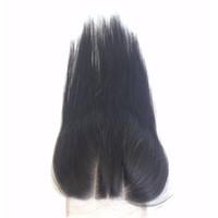 bakire hint saçları yol kapanışı toptan satış-3 Yollu Bölüm Dantel Kapatma Düz Işlenmemiş Brezilyalı Perulu Hint Malezya Virgin İnsan Saç Üst Kapatma Doğal Renk Boyanabilir