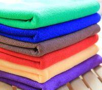 Wholesale microfibre cloths - 100pcs 30*60cm Microfiber Car Cleaning Towel Microfibre Car wash Cloth Hand Towel Microfiber Towel Car Dry pad kitchen cleaning towels G233