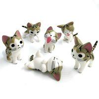 ingrosso ornamenti giardino gatti-6 pz / lotto Mini Cat Figurine In Miniatura Animali Dei Cartoni Animati Statua Modelli Bonsai Giardino Piccolo Ornamento Paesaggio Decorazione Giardino di Casa