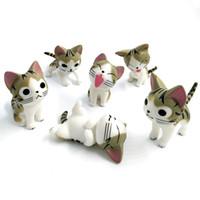 Wholesale plastic figurines animals - 6pcs   lot Mini Cat Miniature Figurine Toys Cartoon Animals Statue Models Bonsai Garden Small Ornament Landscape Home & Garden Decoration
