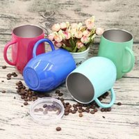 Wholesale Pp Handle - New 2018 Unique Party Cup 350ml Powder Coated Fashion Egg Shaped Wine Glass Travel Beer Mugs Tumblers 304 Stainless Steel Cups With handle