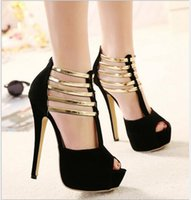 Wholesale Wedding Shoes Taiwan - Brand Designer- New Rome High with Metal Decoration Waterproof Taiwan High-heeled Shoes Woman Fashion Sandals Sexy Shoes Free Shipping