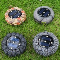 Wholesale 4pcs set LEDs Solar Powered Resin Buried Light Outdoor Courtyard Buried Lawn Lamp Simulation Stone Lamp H1419