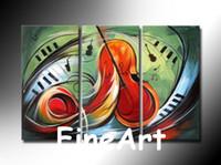 ingrosso dipinti decorazione chitarra-Handmade 3 pezzi dipinti decorazioni camera da letto della chitarra in vendita dipinti ad olio contemporanea decorazione della casa arte della parete