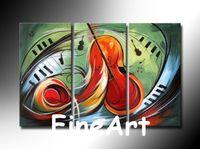 pinturas de decoración de guitarra al por mayor-Pinturas hechas a mano de 3 piezas de guitarra decoraciones de dormitorio en venta pinturas al óleo contemporáneas decoración del hogar arte de la pared