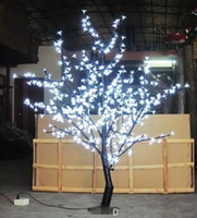 árbol de cerezo llevado al por mayor-1.5m 5 pies de altura Árbol de flor de cerezo de LED blanco Decoración de luz de vacaciones de jardín de bodas al aire libre / interior 480 LED